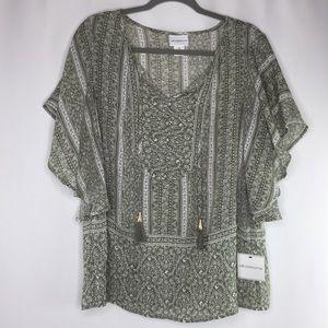 NWT Liz Claiborne olive green flowy sleeve blouse